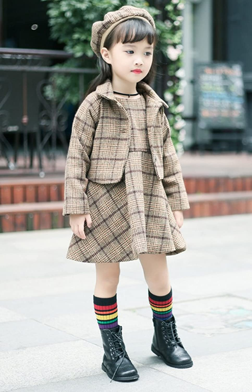 Steampunk Kids Costumes | Girl, Boy, Baby, Toddler YUFAN Little Girls Gray and Brown Plaid Dress Set 3 Pieces Dress Jacket With Beret Cap $26.99 AT vintagedancer.com