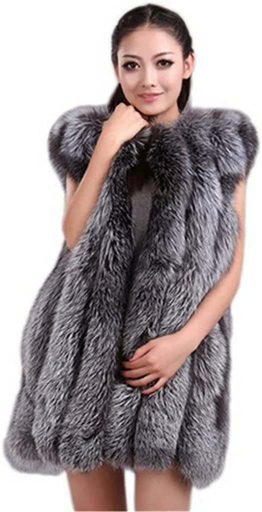 YR Lover Women's Vertical Texture Whole Skin Silver Fox Fur Vest Waistcoat at  Women's Coats Shop