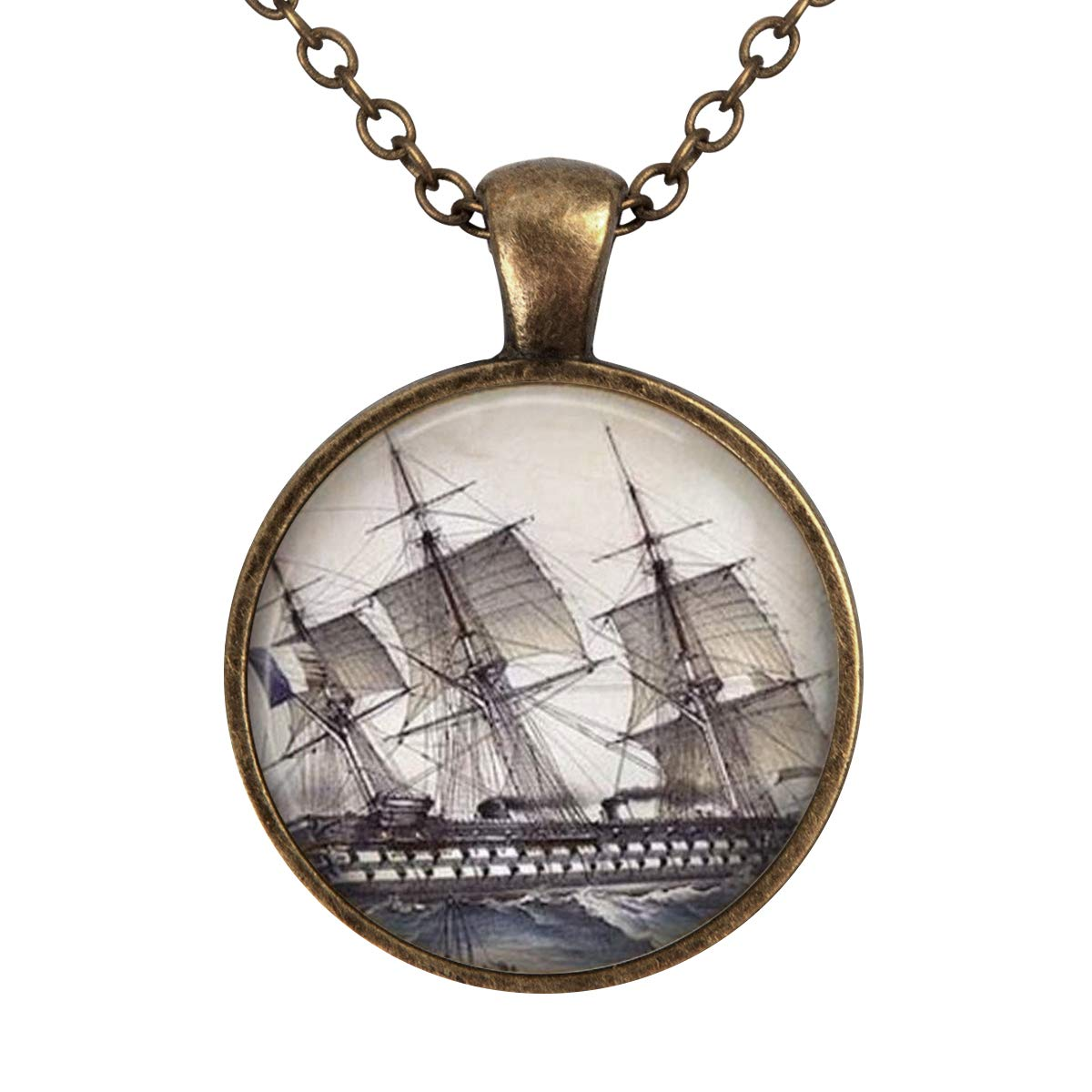 Family Decor Sailing Ship Pendant Necklace Cabochon Glass Vintage Bronze Chain Necklace Jewelry Handmade