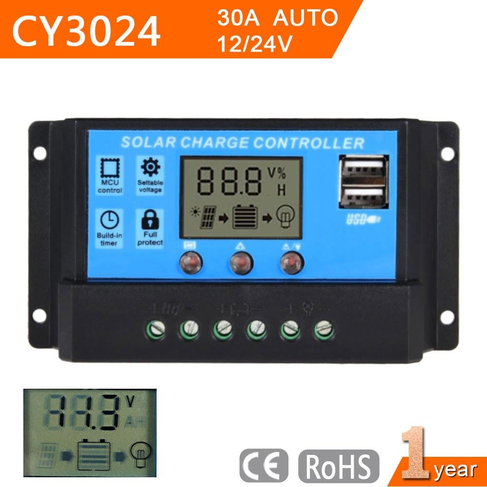 Sun YOBA Solar Charge Controller Solar Panel Controller 30A 12V 24V With Double USB Ports-US Stock by Sun YOBA (Image #3)