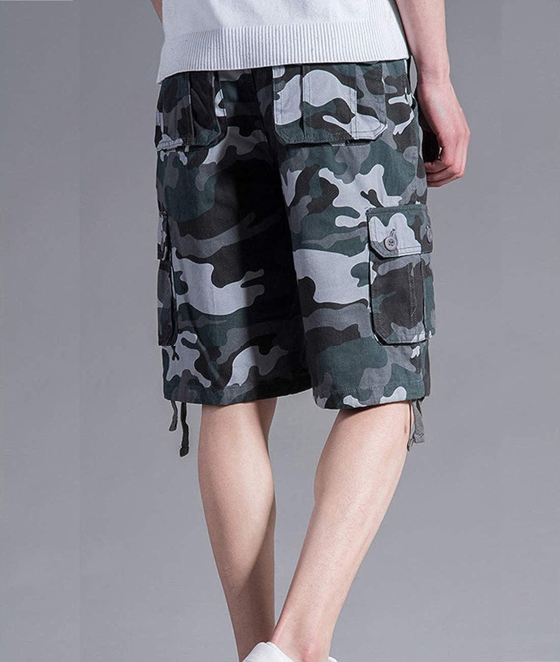 APTRO Mens Short Cargo Shorts Summer Black Cotton Dress Camo Casual Shorts Men's Shorts Combat Pants Multi Pocket Knee Length Elastic Shorts Camouflage Blue Dk01