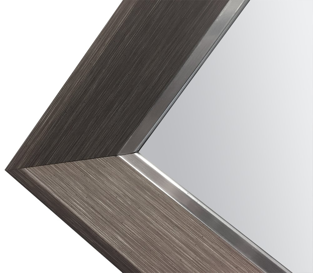 Hanging Framed Wall Mounted Mirror By Raphael Rozen: Art Deco, Wood like and Metal Combination Elegant, Rectangular,Dark Grey Wood Grained Finish, 1 1/4'' Wide Frame