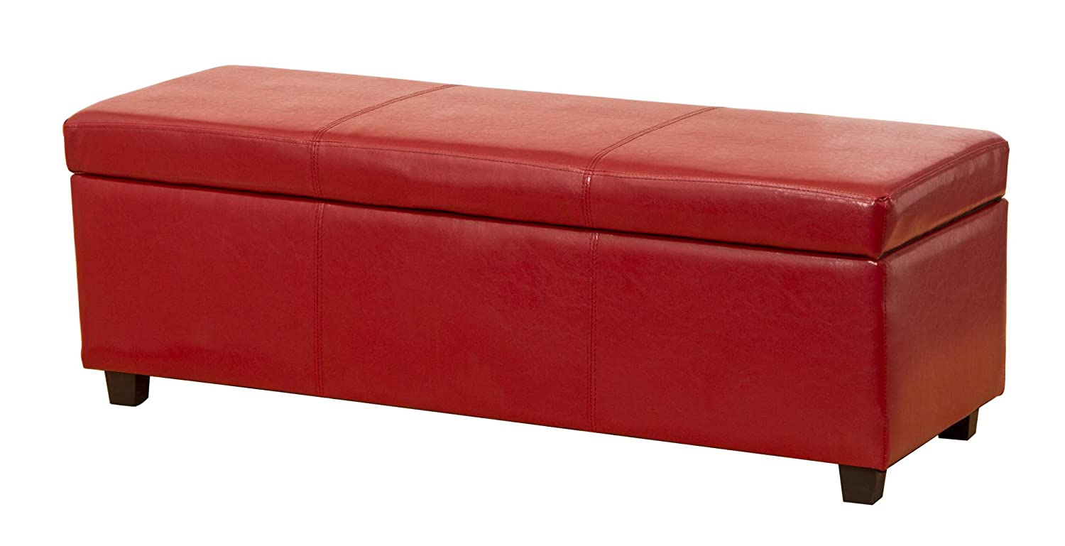 Sofa Collection Avignon Ottoman Sofa in Bonded Leather, Leather, Red, X-Large, 45 x 120 x 43 cm 5060363581290