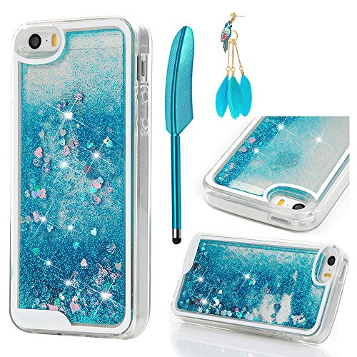 iPhone SE Case, iPhone 5 5S Case - MOLLYCOOCLE Transparent Clear TPU Plastic Shell 3D Bling Sparkle Glitter Quicksand and Cute Star Flowing Liquid Cover for iPhone SE/5/5S - Blue (Iphone 5s Case Cute Bling)