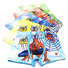 Toddler Boys Spiderman Boxer Briefs Cotton Character Underwear Trunks,5 Pack