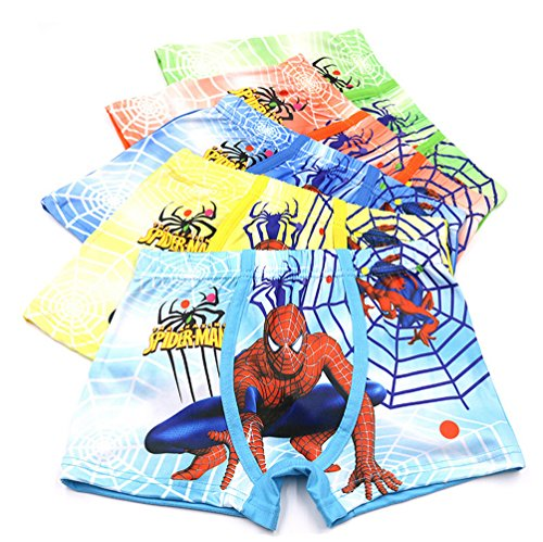 3-8 Years Boys Spiderman Boxer Briefs Cotton Character Underwear,5 Pack
