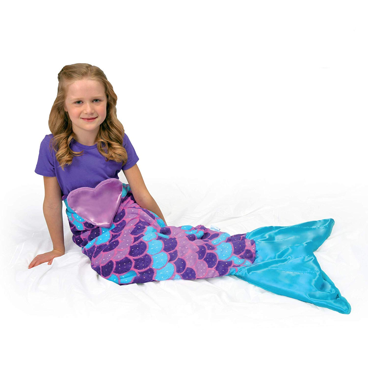 Snuggie Tails Comfy Cozy Super Soft Warm Mermaid Blanket for Kids (Purple), As Seen on TV