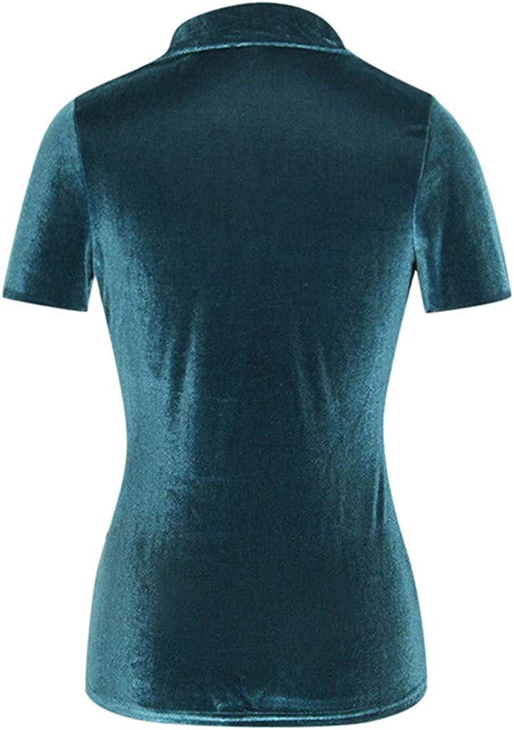 Weginte Women Shirts and Blouses Velvet Turn-Dowm Collar Sweatshirt Casual Button Pocket Pullover Short Sleeve Tunic Top