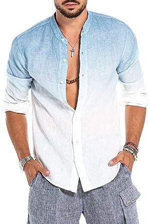 Camisa de Lino para Hombre Camisas de Manga Larga Henley de Lino con Degradado de Moda: Amazon.es: Ropa y accesorios