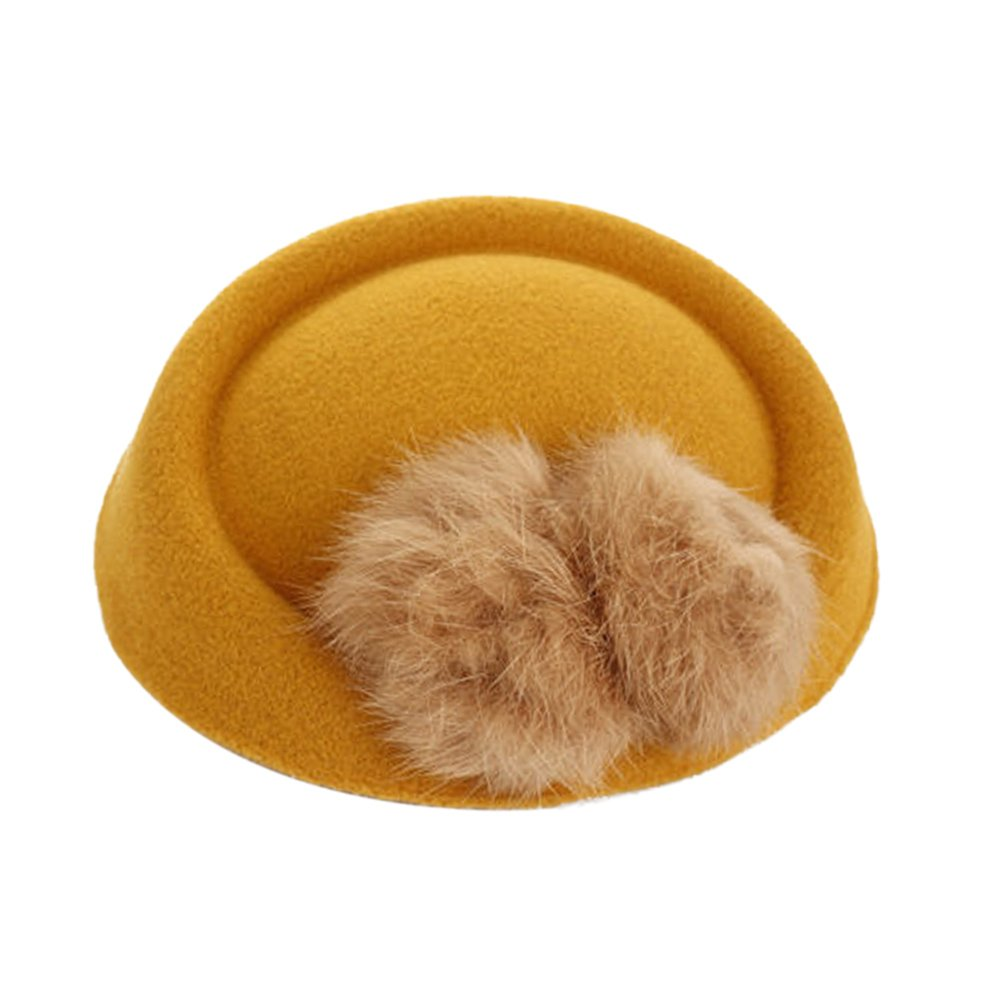 Funbase Girls Kid Fur Ball Wool Top Cap Hat Lace Fascinator Hair Clip Accessory