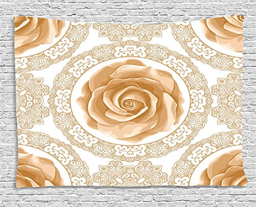 (asddcdfdd Floral Tapestry, Rose Florets with Classic Golden Lace Authentic Feminine Retro Oriental Motif, Wall Hanging for Bedroom Living Room Dorm, 80 W X 60 L Inches, Sand Brown White)