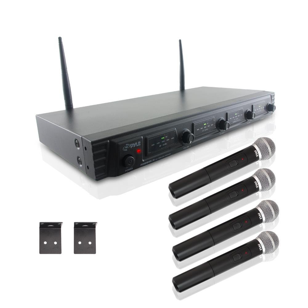 Pyle PDWM4520 Rack Mount 4 Channel UHF Wireless Microphone System, 4 Handheld Microphones