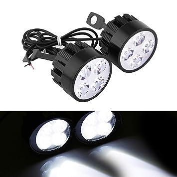 2 focos LED de 12 V para motocicleta, 24 W, 4 ledes, universales