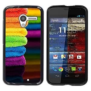 Caucho caso de Shell duro de la cubierta de accesorios de protección BY RAYDREAMMM - Motorola Moto X 1 1st GEN I XT1058 XT1053 XT1052 XT1056 XT1060 XT1055 - Fabric Summer Colorful Rainbow&quo