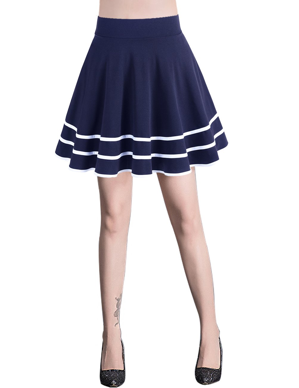 Bridesmay Women's Basic High Waist Casual Mini Skirt Stretchy Skirt