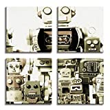 JP London 4 Panels 14in 4 Huge Gallery Wrap Canvas Wall Art Retro Robot Machines Family At Overall 28in QDCNV2358