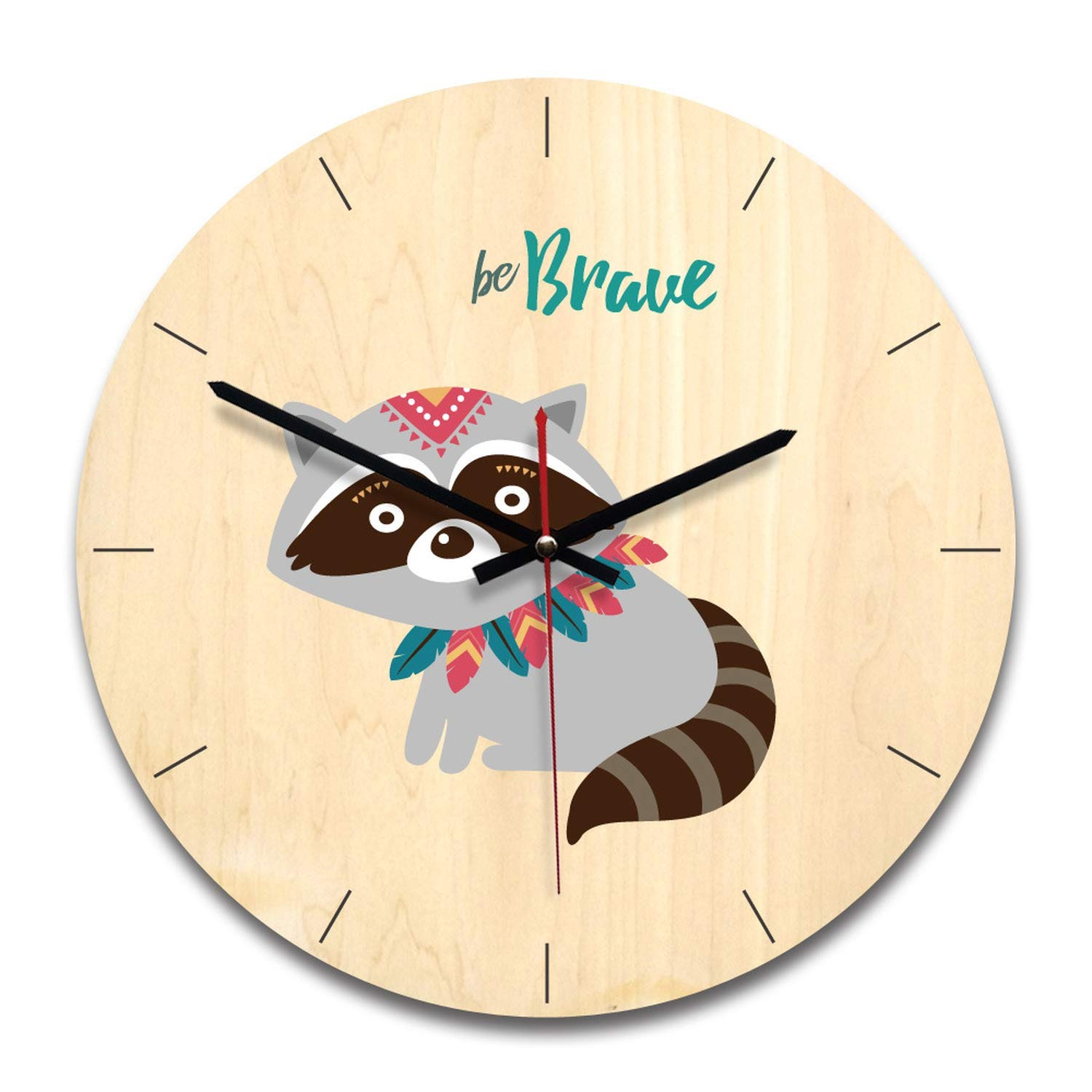 Amazoncom De24scx Wooden Wall Clock Home Decoration Cartoon Wall