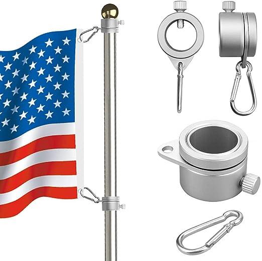 Spinn-Flaggen-Stangen-Set 360 /° Anti-Wickel mit Karabiner-Stangen-Befestigungen silber Fahnenmast-Ring 1 Paar Aluminium-Fahnenmast-Befestigungsringe