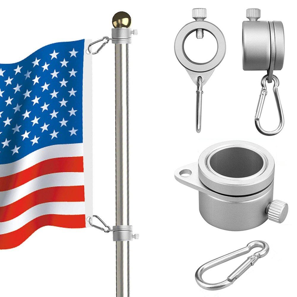 Asta di bandiera, anelli montaggio 360gradi rotante Pennone bandiera di alluminio spinning Flag Pole kit con moschettone per 0.75–2,6cm diametro Flagpole, Pennone anelli di montaggio