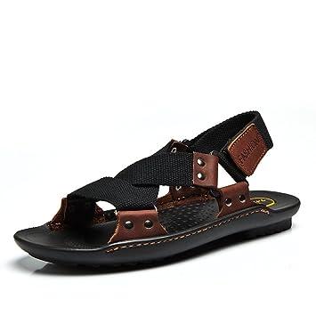 LJO Mann Sandalen Strand Schuhe Schnalle Sommer Kopf Schicht Rindsleder Casual Fashion Komfortable Outdoor Wanderschuhe,A,UK/EU38