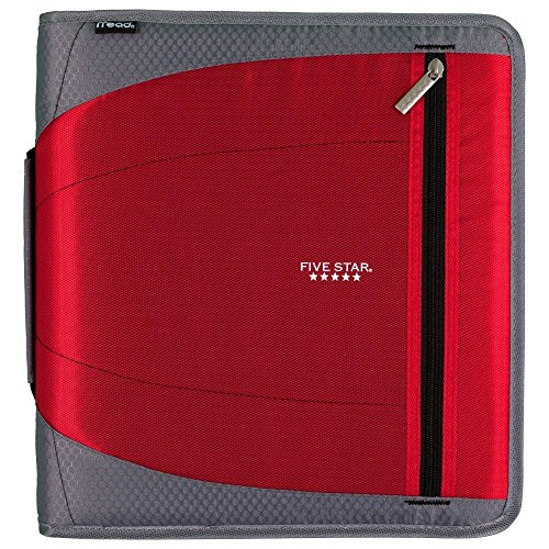 "Five Star 2"" Zipper Binder with Handle, Includes 3 Removable File Folders, Red (73283)"