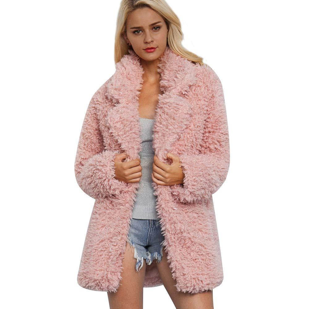 Winter Coats For Women Liraly Fashion Classic Ladies Warm Artificial Wool Coat Lapel Jacket Winter Parka Outerwear(Pink,US-14 /CN-L3)