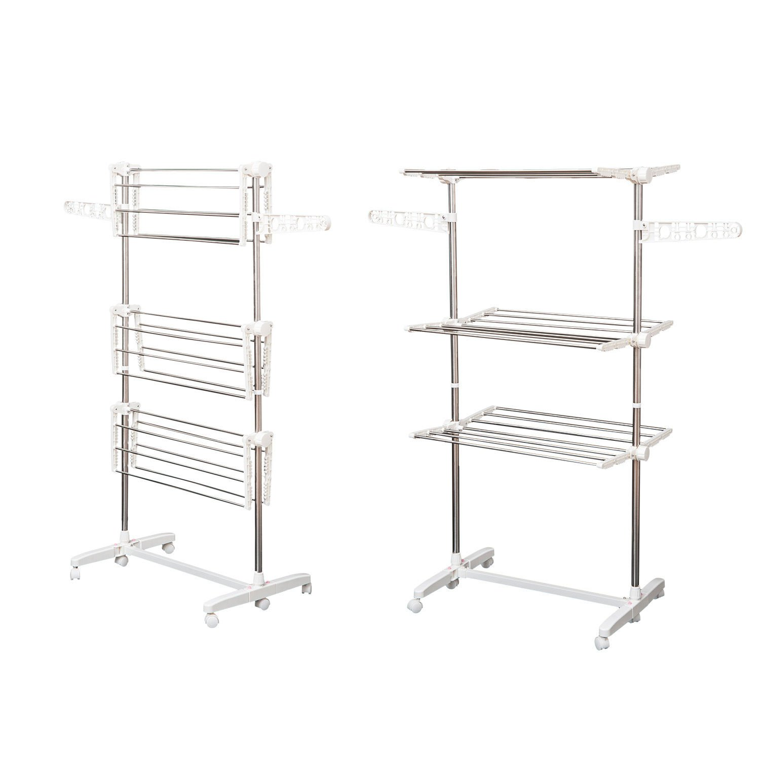 Homcom Folding Cloth Rail Adjustable Garment Rack With Wheels (3