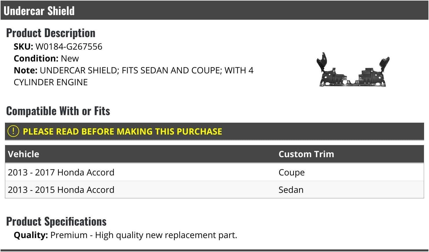 Undercar Shield Compatible with 2013-2017 Honda Accord Sedan//Coupe