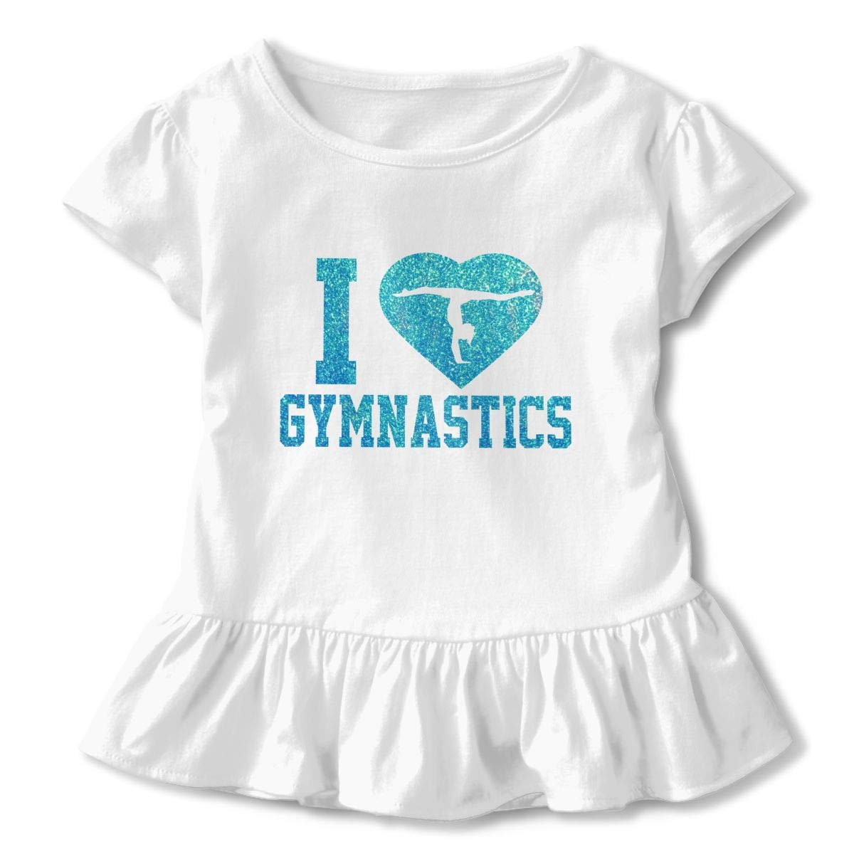 Cheng Jian Bo I Heart Glitter Gymnastics Toddler Girls T Shirt Kids Cotton Short Sleeve Ruffle Tee
