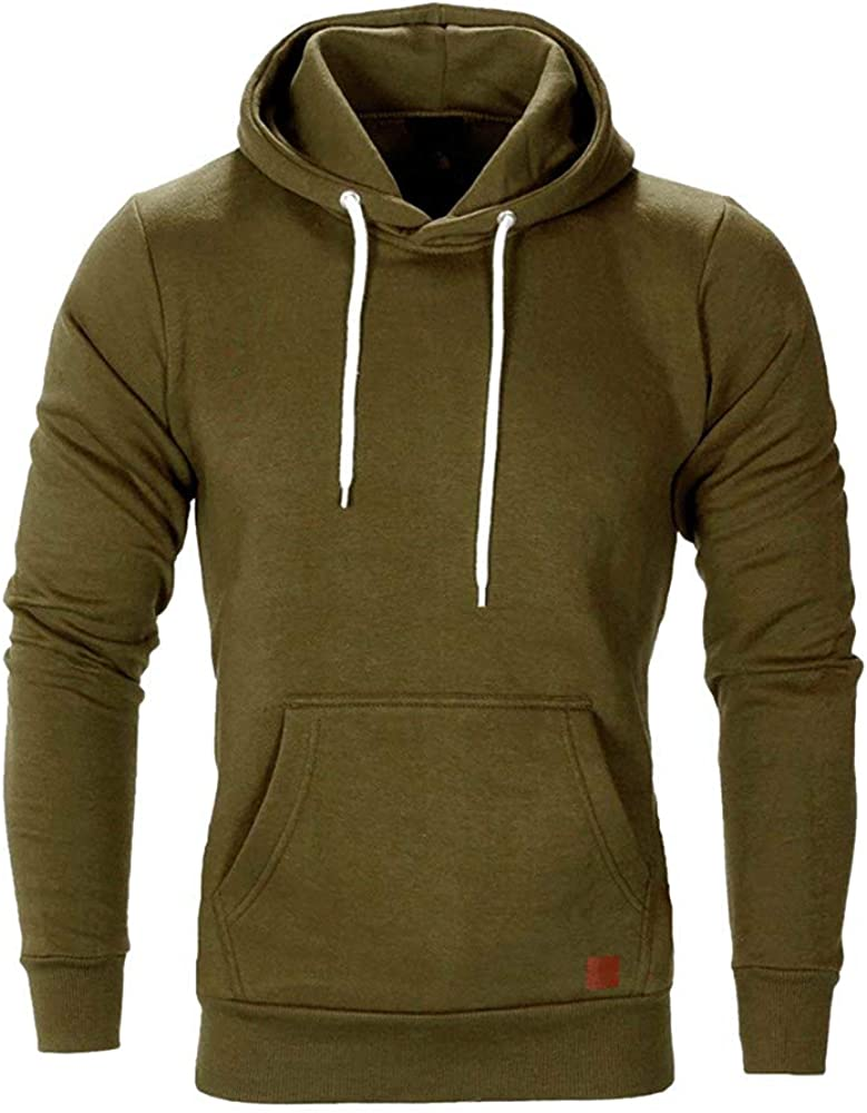 ZSBAYU Mens Sweatshirt Hoodie Casual Warm Long Fitness Pullover Sports Gym Jogger Hooded Outwear Tops Jacket Tracksuits