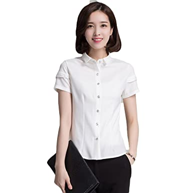 e08438575e71c8 Pickin New Style Blouse Short Sleeve Chiffon Shirt Plaid White Shirt OL  Occupation Dress at Amazon Women's Clothing store: