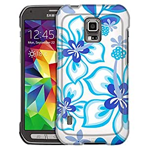 Samsung Galaxy S5 Active Case, Slim Fit Snap On Cover by Trek Blue Hawaiin Flowers on White Case