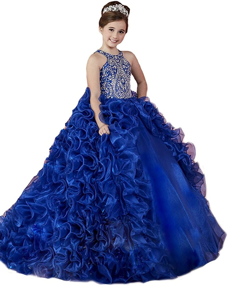 Amazon Com Hzcq Flower Girls Ruffles Royal Party Gowns Kids Pageant Dresses Clothing