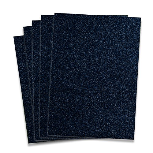 Navy Glitter Heat Transfer Vinyl HTV - 5 Sheets each 10 in x 12 in HTV for Cricut and Silhouette Navy Glitter