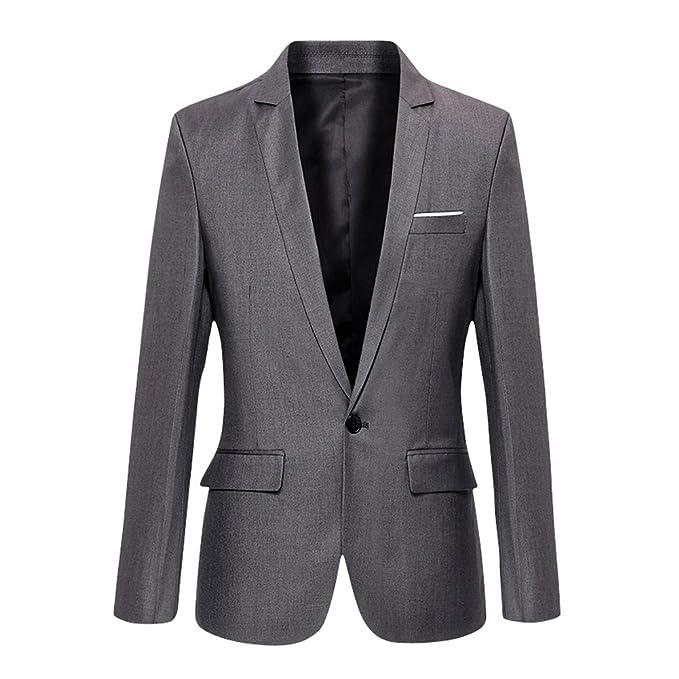size 40 46381 af051 VOBAGA Slim Fit Uomo Casual One Button elegante vestito di affari cappotto  giacca grigia Blazers