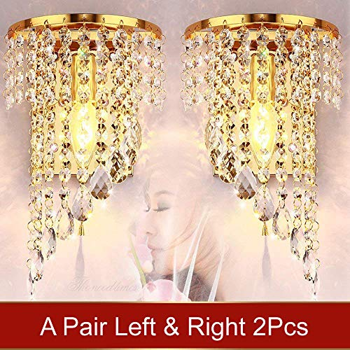 WEERUN A Pair Left & Right 2Pcs E12 Modern K9 Crystal Mirror Stainless Steel Wall Lights Wall Lamps Sconce Night Light Lamps Fixtures Lights With Switch For Hallway Bedside Living Room (Gold)