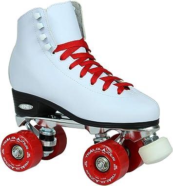 Epic Classic Black High-Top Quad Roller Skates w// Red Wheels /& 2 Pr Laces