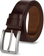 Expresstech @ Brown Genuine Leather Belts for Men Adjustable 110cm Leather Strap Waist Strap Waistband Buckle Belt for Work Business Smart Casual Casual Style Men's Fashion Trends with Gift Box