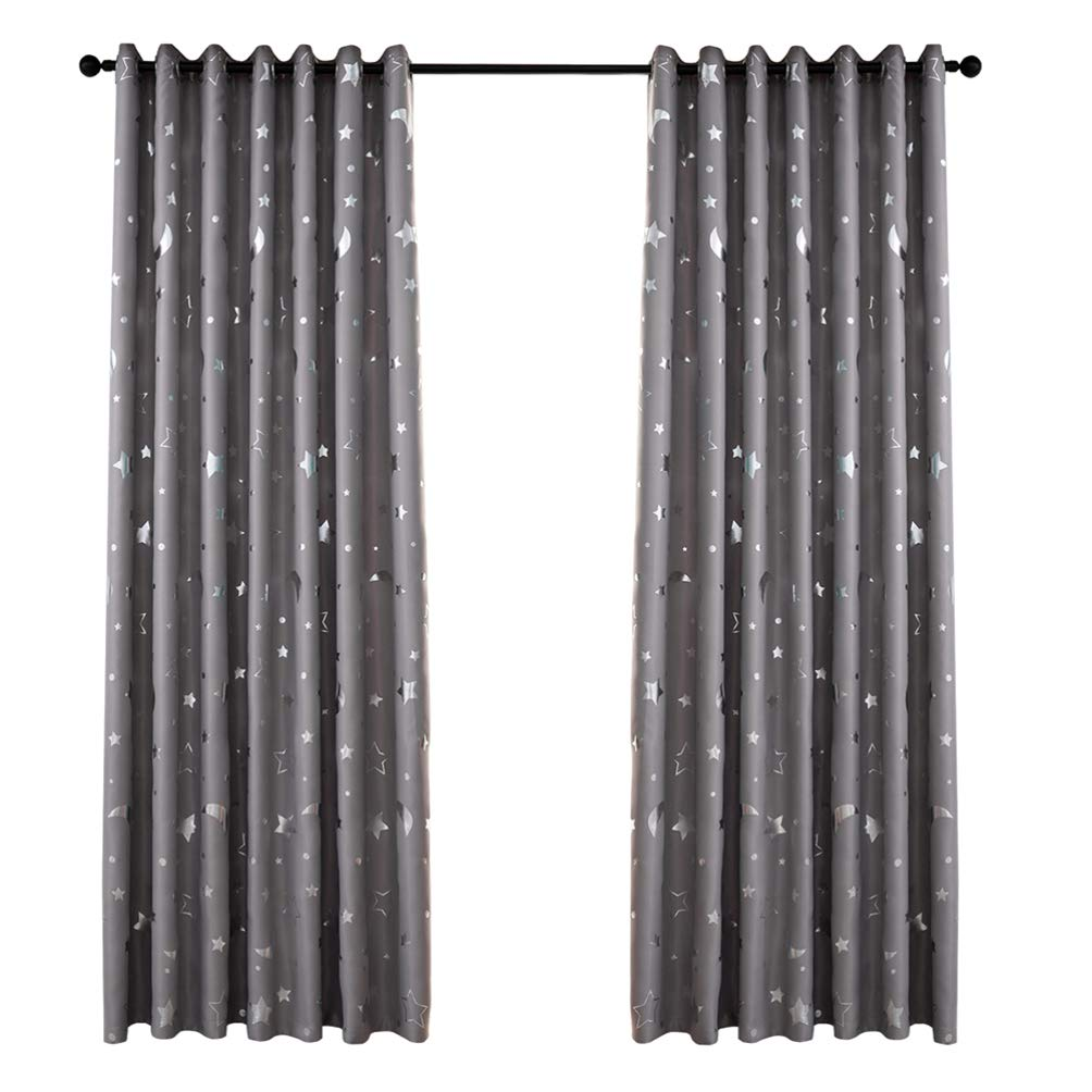Navy Garneck Blackout Window Curtain Stars Moon Thermal Insulated Noise Reducing Grommet Top Window Treatment for Girls Room 100x250cm