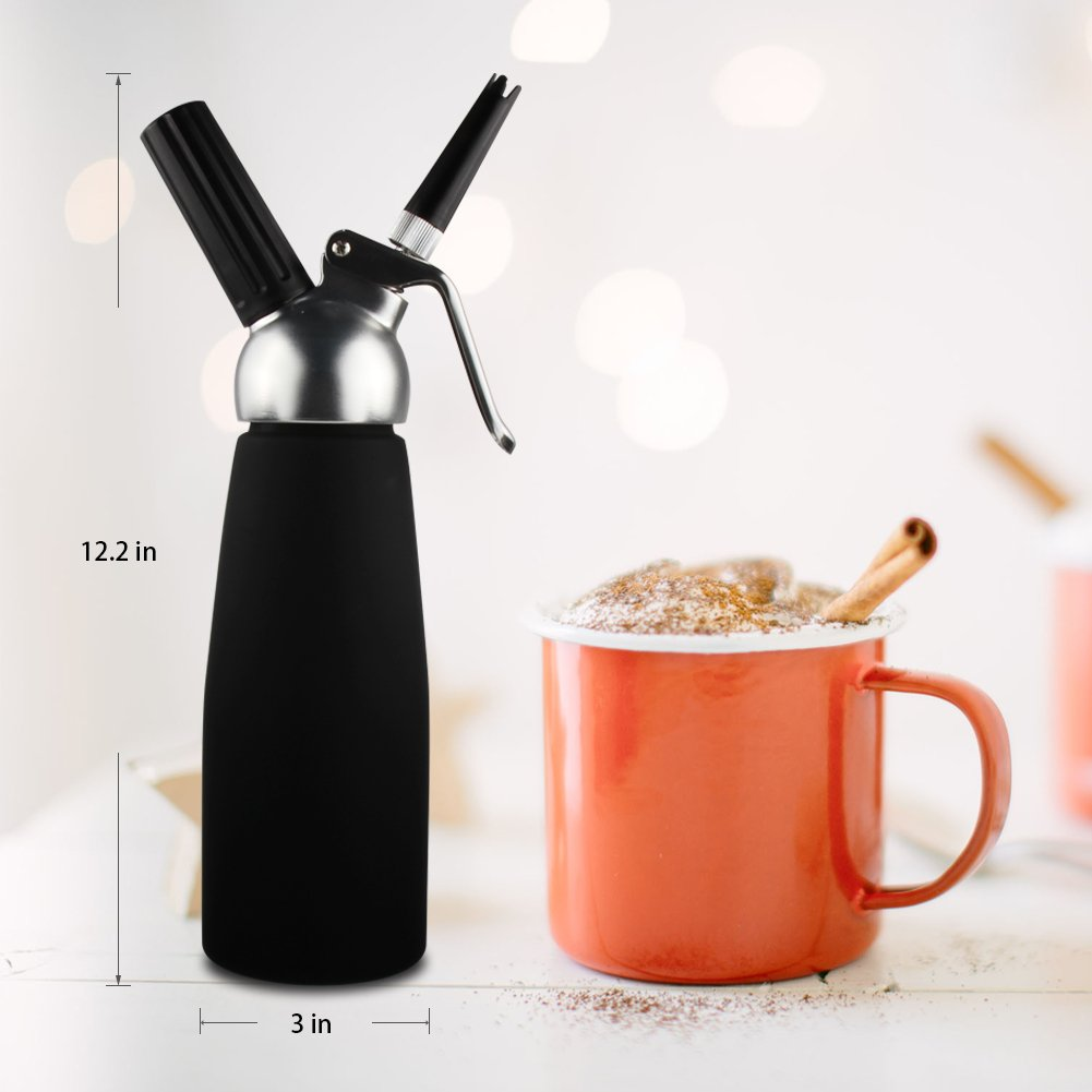 Sivaphe Cream Whipper Gourmet Whip Culinary Aluminum Threads Whipped Cream Dispenser Maker with 3 Decorating Nozzles Leak-proof - Use 8 Gram N2O Cream Chargers (Not Included) by Sivaphe (Image #5)