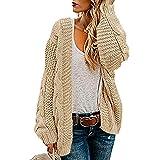 Ferrtye Womens Oversized Chunky Open Front Cardigan Sweaters Cable Knit Long Sleeve Boyfriend Cardigans Outwear Coats