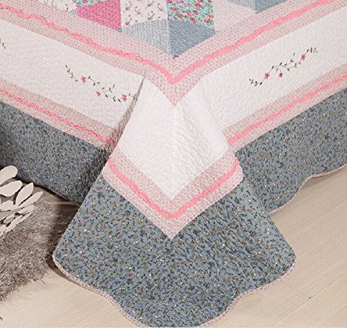Newrara Pink and Grey Checkered Flower Patchwork Cotton Quilt Bedding Set 3pcs