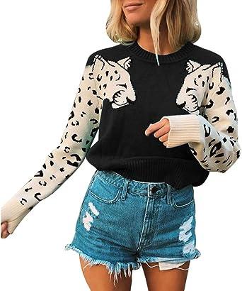 Gergeos Womens New Winter Warm Long Sleeve Leopard Print Long Coat Cardigan Tops
