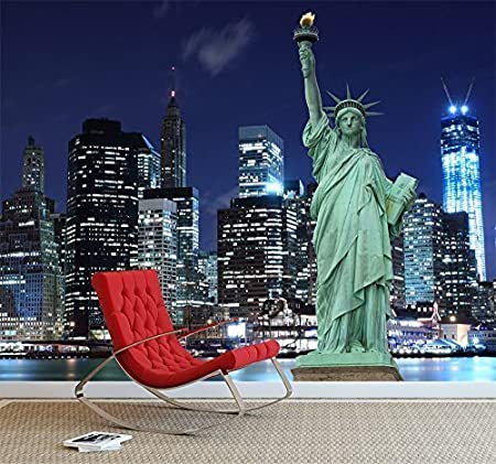 Manhattan Skyline The Statue Liberty At Night York City Wall Mural Photo Wallpaper