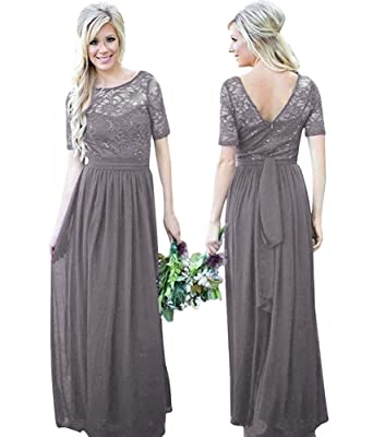 a4a16fab983 Image Unavailable. Image not available for. Color: Elegant Short Sleeve Lace  Bridesmaid Dresses ...