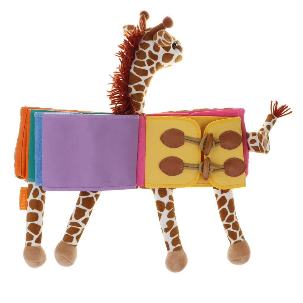 B Blesiya Livre en Tissu Doux Enfants Apprendre à Zipper Bouton Cravate Jouet éducatif Girafe