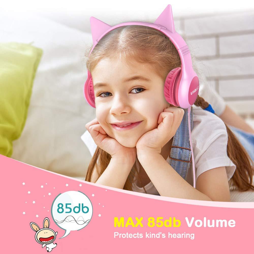 LOBKIN Función de Intercambio de música para Auriculares para niños Oreja de Gato