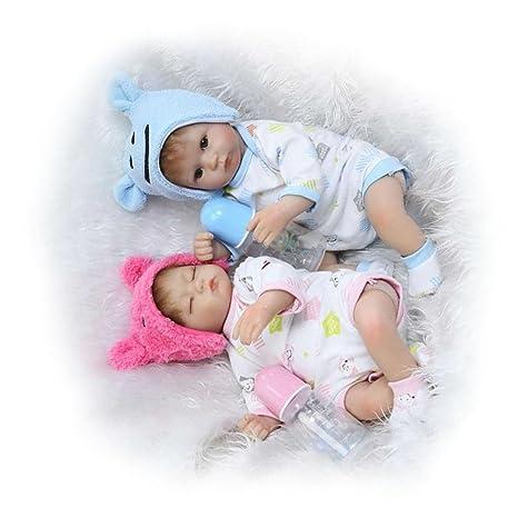 Soft despierto Niño Niña bebé gemelos + dormido alimentando Dolls 1742cm de silicona
