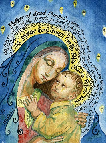 (Dovetail Ink Our Lady of Good Counsel - Catholic Gift - Signed Art Print (Soft Evening Blues, 5x7 Inches))