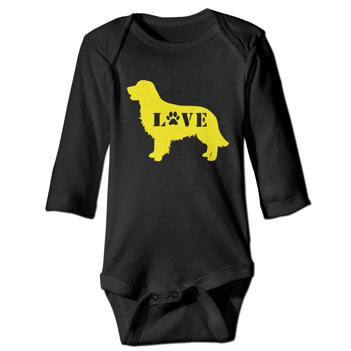 Cute Cotton Bodysuit Romper Jumpsuit Baby Boys Girls Golden Retriever Love Dog Paw Long Sleeve Romper Jumpsuit
